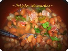"Frijoles Borrachos (""Drunk"" Pinto Beans) - Frijoles a la Charra… or Frijoles Borrachos, because of the beer! The real drunken beans, the way my mom use … Continue reading → Mexican Dishes, Mexican Food Recipes, Ethnic Recipes, Mexican Cooking, I Love Food, Good Food, Yummy Food, Kitchen Recipes, Cooking Recipes"