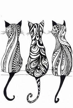 Zentangle Cat Drawing | 10 Purrrffeecttly Adorable Cat Tattoos