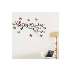 Magnolia and 3D Butterflies Wall Art Decal (120 BRL) ❤ liked on Polyvore featuring home, home decor, wall art, butterfly wall stickers, magnolia home decor, butterfly wall decals, magnolia wall decal and butterfly home decor