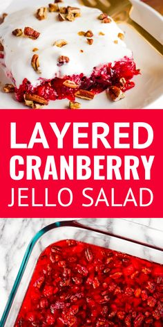 Cranberry Salad Recipe -- To be honest this easy cranberry jello salad with its sweet & tangy cream cheese topping is more of a dessert but we serve it as a side! In fact weve always called it Holiday Cranberry Salad. SO good a MUST TRY recipe! Cranberry Dessert, Cranberry Salad Recipes, Cranberry Cheese, Cranberry Salad With Jello, Winter Salad Recipes, Cranberry Sauce, Jello Desserts, Jello Recipes, Dessert Salads
