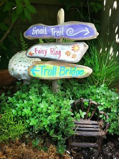 fairy garden signpost, painted signs fairy ring, snail trail, troll bridge on a rustic sign post, minature - DIY Fairy Gardens garden ideas eyfs