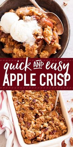 you want to make the best quick apple crisp - your search is over. This easy recipe is absolutely foolproof and so scrumptious! The simple topping is made with butter, sugar, flour and oatmeal. The apple filling is spiced up with cinnamon and bakes up Quick Apple Crisp, Apple Crisp With Oatmeal, Apple Crisp Topping, Best Apple Crisp Recipe, Caramel Apple Crisp, Apple Crisp Recipes, Apple Filling, Apple Crisp Recipe Without Flour, Apple Crisp Recipe With Canned Apples