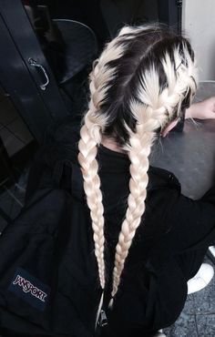 Ice blonde. Dark root. Classic French braid re-work pigtails.