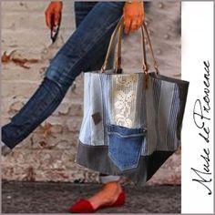 sac cabas fait main tissu  à la dentelle 5