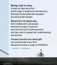 Being rude is easy. Kindness shows great self-discipline Self Love Quotes, New Quotes, Quotes To Live By, Funny Quotes, Inspirational Quotes, Rude People Quotes, Being Rude Quotes, Rudeness Quotes, Important Life Lessons