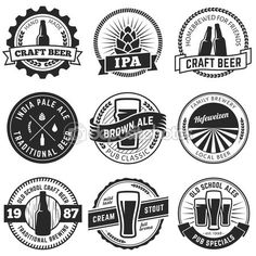 Set of vintage craft beer labels and emblems. Labels for pubs and breweries. Craft beer styles. Glasses and bottles of beer.