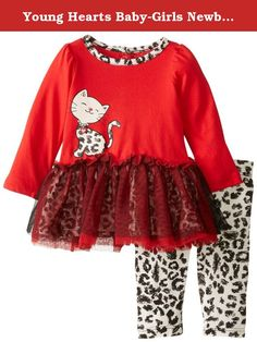 Young Hearts Baby-Girls Newborn 2 Piece Kitty Popover and Leopard Printed Pant, Red, 6-9 Months. 2 piece long sleeve pullover with screen-print with glitter and skirt. Mesh covering of skirt. Leopard printed legging.