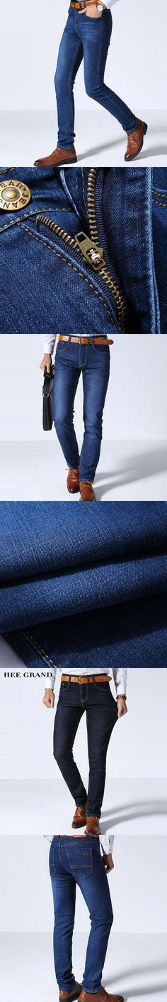 HEE GRAND 2017 Spring Summer Men Jeans Full Length Business Style Slim Fitted Straight Denim Trousers Plus Size 29-40 MKN960