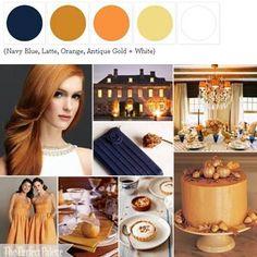 {Autumn Elegance}: A Wedding Palette of Navy Blue, Latte, Orange, Antique Gold + White http://www.theperfectpalette.com/2011/11/autumn-elegance-wedding-palette-of-navy.html