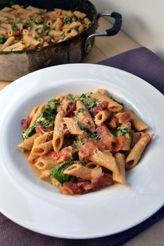 Bacon Ranch Pasta w Spinach and Tomatoes | windykitchen