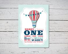 Hot Air Balloon First Birthday Invitation Printable, Retro Hot Air Balloon Invitation for Boy first birthday, Oh The Places You'll Go party.
