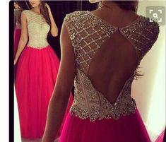 Beaded Bodice Fuchsia Tulle Open Back Long Prom Dresses