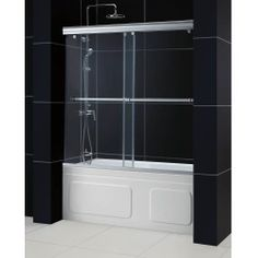 """Cheapest of Bath Authority DreamLine Charisma Frameless Bypass Sliding Tub Door and QWALL-Tub Backwalls Kit (56"""" to 60"""") Sale Wholesale Special offer"""