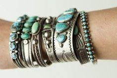 "freshgypsy:  "" silver & turquoise wrist pile  """