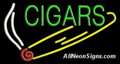 """Neon Sign - CIGARS-10419-4198  37"""" Wide x 20"""" Tall x 3"""" Deep  110 volt U.L. 2161 transformers  Cool, Quiet, Energy Efficient  Hardware & chain are included  6' Power cord  For indoor use only  1 Year Warranty/electrical components  1 Year Warranty/standard transformers."""