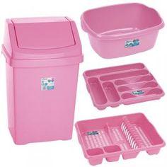 6 Pc Kitchen Bin Set - Baby Light Pink in Waste Bins & Dustbins