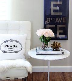 7 small shop by Erika Brechtel for Adore Home, photo by Sabra Lattos, living room Barcelona chair sheepskin Prada pillow Saarinen table subway sign Interior Design Blogs, Interior Inspiration, Modern Interior, Interior Decorating, Design Inspiration, Home Office, Side Table Styling, Saarinen Table, Prada