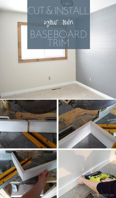 How to install the baseboard trim - DIY Home Decor Home Improvement Projects, Home Projects, Home Renovation, Home Remodeling, How To Install Baseboards, Baseboard Trim, Baseboard Ideas, Diy Workbench, Workbench Designs