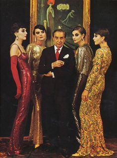 """In 1960 for Life Magazine, Milton Greene photographed fashion designer Norman Norell proudly standing amongst his muses: models dressed in his signature sequined sheath gowns with Marchesa Luisa Casati, portrayed in Kees van Dongen's 1921 painting, """"The Quai, Venice."""" Norell owned the portait of the eccentric Marchesa (the same Marchesa who inspired the label Marchesa by Georgina Chapman and Keren Craig) and designed his Fall 1960 collection in her honor. (see van Dongen painting this board)"""