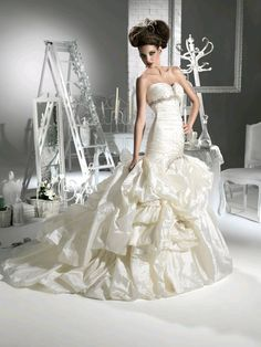 Beaded and Ruched Sweetheart Taffeta Mermaid #weddinggown at ShopSimple.com