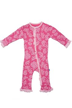 Coral Ruffle Coverall by Kickee Pants via Hatched Baby