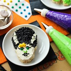 "Our Rice Krispies challenge team, Amy of She Wears Many Hats, Robyn of Add a Pinch and Julie of Mommie Cooks and I, planned a ""Make Your Own Monster"" party"
