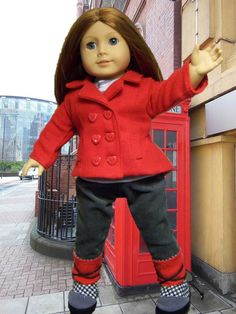 American Girl doll in red jacket