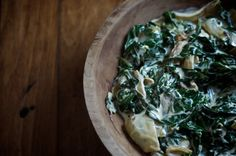 Collards, rich and vibrant green, swim with caramelized onions and cream in this simple creamed simple, easy creamed collard greens recipe. Paleo Recipes, Real Food Recipes, Cooking Recipes, Vegetable Side Dishes, Vegetable Recipes, Collard Greens Recipe, Vegetable Seasoning, Side Dish Recipes, Healthy Eating