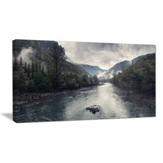 "DesignArt Mountain River with Fog and Rain Photographic Print on Wrapped Canvas Size: 12"" H x 20"" W x 1"" D"