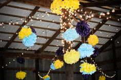 Such adorable tissue paper decorations and lights