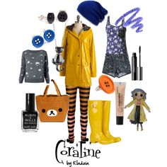 Designer Clothes, Shoes & Bags for Women Cartoon Outfits, Disney Outfits, Cute Outfits, Casual Cosplay, Cosplay Outfits, Halloween Outfits, Halloween Costumes, Coraline Costume, Coraline Aesthetic