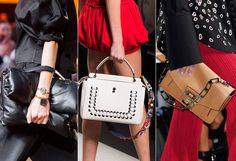 Noticing the center bag - another great grommet project idea whether on a top or a bag. ~The Top 7 Bag Trends of Spring 2016 from InStyle.com
