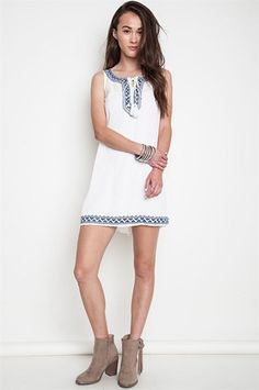 Sierra Embroidered Tunic Dress - White + Blue