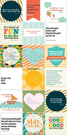 freebie of the month : positive printables with cute phrases and an alphabet printable!  Sooo cute!