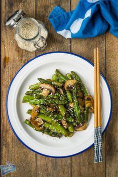 Szparagi z sezamem Asian, Bento, Asparagus, Green Beans, Sushi, Lunch Box, Food And Drink, Meals, Vegetables