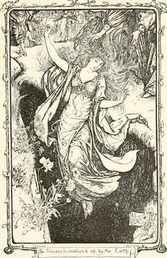 venusmilk:  The Grey Fairy BookIllustrations by Henry Justice FordThe Princess is swallowed up by the Earth
