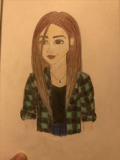 Girl wearing checked shirt drawing, my art selfportrait