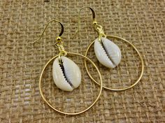 Brass and Cowrie Shell Hoops by Styledentity on Etsy, $15.00
