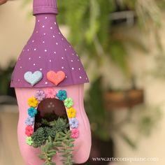 Casa de reciclagem PET️ PET - cactus and succulents - Kids Crafts, Diy Arts And Crafts, Creative Crafts, Home Crafts, Reuse Plastic Bottles, Plastic Bottle Crafts, Diy Paper, Paper Crafts, Recycled Crafts