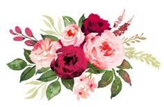 Flower bouquet with red and pink roses. Watercolor hand-painted illustration Flower bouquet with red and … Art Floral, Pastel Floral, Rose Illustration, Red And Pink Roses, Rosa Rose, Rose Art, Watercolor Rose, Flower Backgrounds, Flower Art
