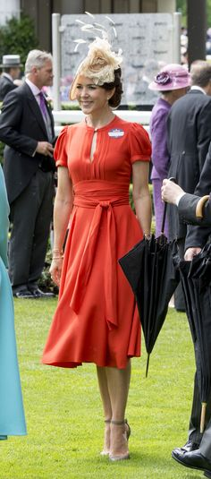 Crown Princess Mary of Denmark, wearing Marc Jacobs orange dress with Jane Taylor hat, Royal Ascot 2016 - Day 2 French First Lady, Mary Donaldson, Denmark Fashion, Danish Royal Family, Copenhagen Fashion Week, Crown Princess Mary, Princess Kate, Royal Engagement, Royal Ascot