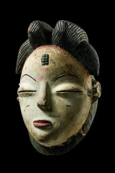 "Mourning face mask ""okuyi"", Gabon, Punu http://www.african-art.net/ethnicity/punu/africa-black-life-rituals"