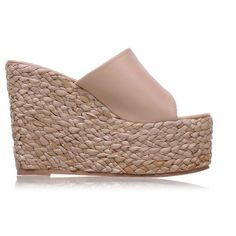 Straw Woven Rope Heels Platform Espadrille Wedge Sandals ($55) ❤ liked on Polyvore featuring shoes, sandals, rope wedge sandals, platform espadrilles, platform wedge sandals, braided wedge sandals and espadrille wedge shoes