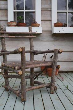Twig Furniture & Woodland Decor More Twig Fur Willow Furniture, Driftwood Furniture, Porch Furniture, Rustic Furniture, Furniture Dolly, Cheap Furniture, Outdoor Furniture, Woodland Decor, Rustic Decor