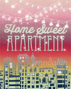 Home Sweet Apartment II  PAPER PRINT apartment decor by Jenndalyn, $18.00