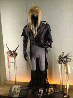 Original costume worn by David Bowie as Jareth the Goblin King, the ruler of the Goblins in the film the Labyrinth, 1986 -- an American adventure musical fantasy film directed by Jim Henson.  Photo:  EMP  #costumeideas #halloweencostume #thebulge