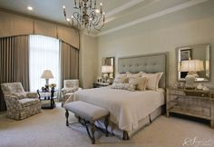 Tailored and restful. Love the mirrors and mirrored chests, chandelier, bench, lounge chairs.