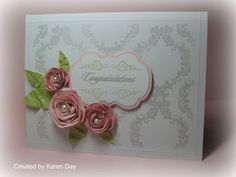 CTMH Wedding Card - Wings WOTG Stamp set used with embossing powder; rolled flowers with pearls.