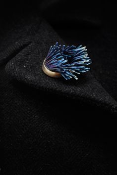 windswept brooch (on lapel) anodised titanium, sterling silver with gold plate. Image: James Robertson Photography