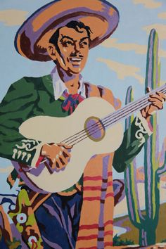Vintage Paint By Number Mexican Caballero with Guitar in the Desert